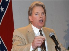 In this May 29, 2004, file photo, former Ku Klux Klan leader David Duke speaks to supporters in Kenner, La.
