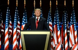Republican presidential candidate Donald Trump delivers his speech, closing out the four-day Republican National Convention at the Quicken Loans Arena in Cleveland Thursday.