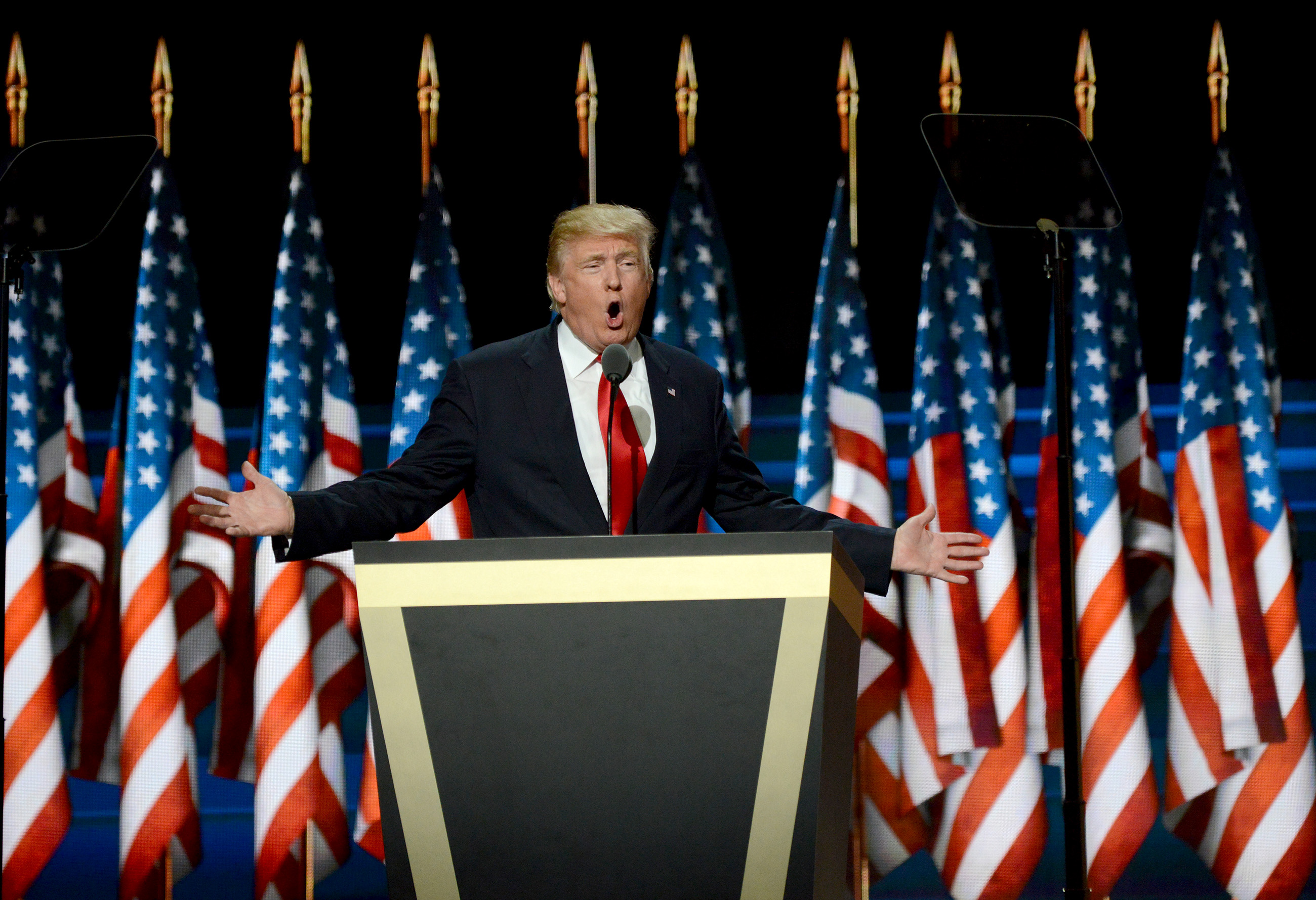 20160722MWHtrumpLocal08-2 Republican presidential nominee Donald Trump speaks to close out the Republican National Convention at Quicken Loans Arena in Cleveland.