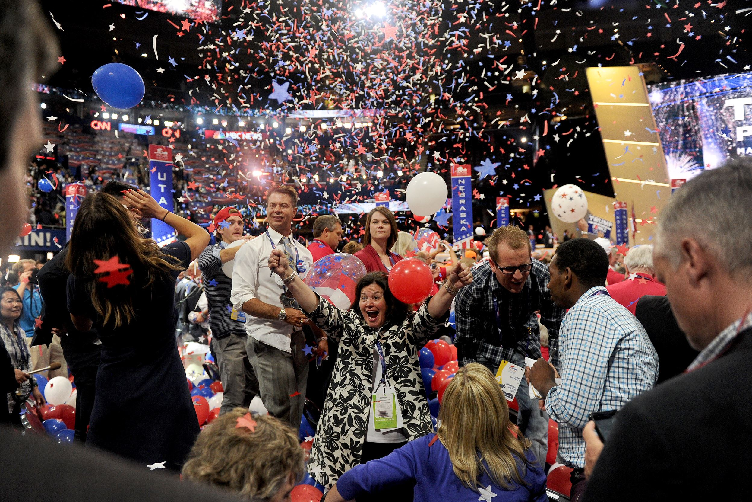 20160722MWHtrumpLocal02-1 Balloons drop from the ceiling after Republican Presidential candidate Donald Trump's speech wraps up the Republican National Convention at the Quicken Loans Arena in Cleveland, Thursday night..