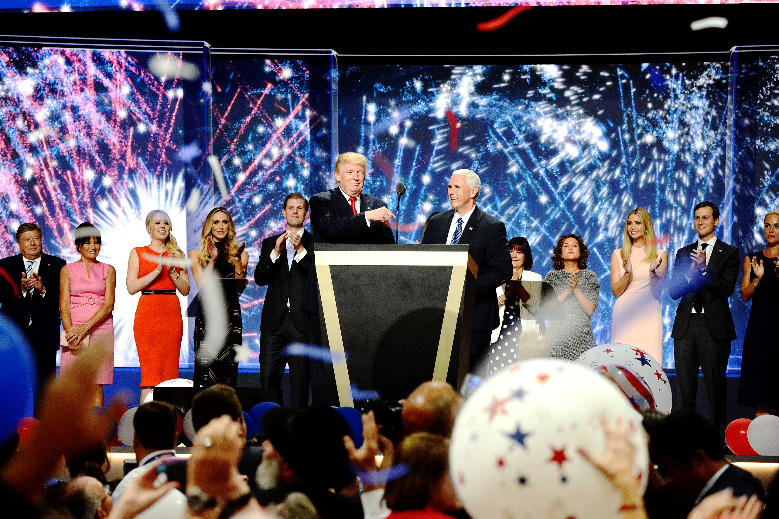 trump01 Donald Trump is joined on stage after his acceptance speech by runningmate Indiana Gov. Mike Pence and their families as the GOP convention celebrates its conclusion in Cleveland's Quicken Loans Arena.
