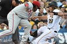 The Pirates' John Jaso is picked off trying to go to third against the Phillies at PNC Park on Friday.
