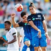 Riverhounds players Willie Hunt and Alejandro Aguilar go up for a header after a corner kick from captain Kevin Kerr in the first half Saturday against the Charlotte Independence.