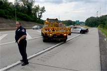 Police close the Wilkinsburg ramp (exit 78B) on Interstate 376 inbound after a motorcyclist crashed on the ramp on Sunday.