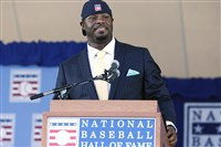 Ken Griffey Jr. speaks at the Hall of Fame induction ceremony Sunday in Cooperstown, N.Y.