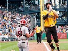 Matt Joyce celebrates after hitting a two-run home run in the sixth inning Sunday in a game game against the Philadelphia Phillies at PNC Park .