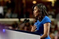 Michelle Obama addresses the Democratic National Convention Monday night at Wells Fargo Center.