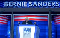 Bernie Sanders addresses the Democratic National Convention Monday night at Wells Fargo Center in Philadelphia.