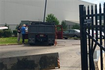 This truck crashed through the security gate at the FBI's Pittsburgh field office Tuesday on the South Side.