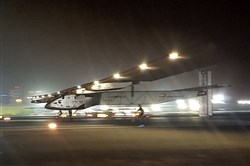 The Solar Impulse 2 plane lands in an airport in Abu Dhabi, United Arab Emirates, early today, marking the historic end of the first attempt to fly around the world without a drop of fuel, powered solely by the sun's energy.