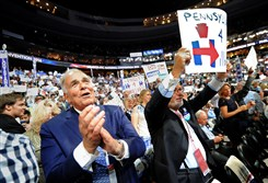 Former Pennsylvania Gov. Ed Rendell watches the roll call votes Tuesday night during Day 2 of the DNC in Philadelphia.