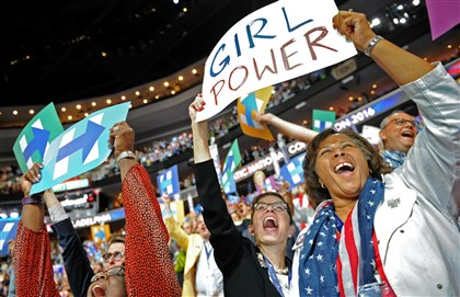 Attendees react as Hillary Rodham Clinton is announced as the first woman nominated for president of the Democratic Party Tuesday night during Day 2 of the convention in Philadelphia.