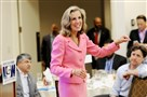 U.S. Senate candidate Katie McGinty addresses a group of United Steelworkers during the Democratic National Convention in Philadelphia in July.
