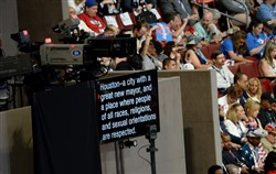 All speakers are able to see a large teleprompter as they address the delegates during the convention.