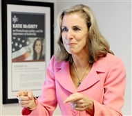 U.S. Senate candidate Katie McGinty practices her DNC speech Wednesday at her campaign office in Philadelphia.