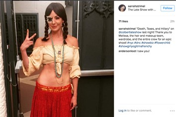 "Sarrah Strimel posted a picture of herself on Instagram, showing her character for a musical appearance on CBS's ""Late Night With Stephen Colbert."""