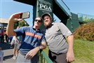SAY CHEESEBURGER Andrew Johnston, a fan favorite at Oakmont Country Club in June, stops for a selfie with a fan Wednesday in a practice round for the PGA Championship that begins today Baltusrol Golf Club in Springfield, N.J.