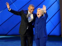 Matt Freed/Post-Gazette Hillary Clinton joins President Obama on stage after he addressed the delegation during Day 3 of the Democratic National Convention at Wells Fargo Center in Philadelphia.