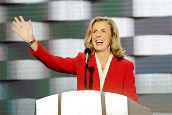 U.S. Senate candidate Katie McGinty waves to the crowd before addressing the delegates on Day 4 of the Democratic National Convention Thursday at the Wells Fargo Center in Philadelphia.