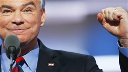 Sen. Tim Kaine, Hillary Clinton's running mate, speaks Wednesday speaks at the Democratic National Convention in Philadelphia.