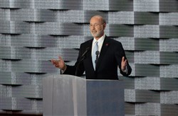 """As president, Hillary Clinton will reward companies that share profits with employees, not just executives,"" Gov. Tom Wolf said in his speech Thursday at the convention."