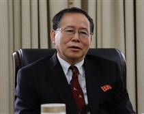 Han Song Ryol, director-general of the U.S. affairs department at North Korea's Foreign Ministry, talks Thursday during an interview with The Associated Press in Pyongyang, North Korea.