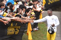 Antonio Brown greets Steelers fans on his way to the field prior to the start of afternoon workouts July 30, 2016, at Saint Vincent College in Latrobe.