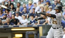 The Pirates' Gregory Polanco loses his bat while swinging at a pitch during the first inning Saturday at Miller Park