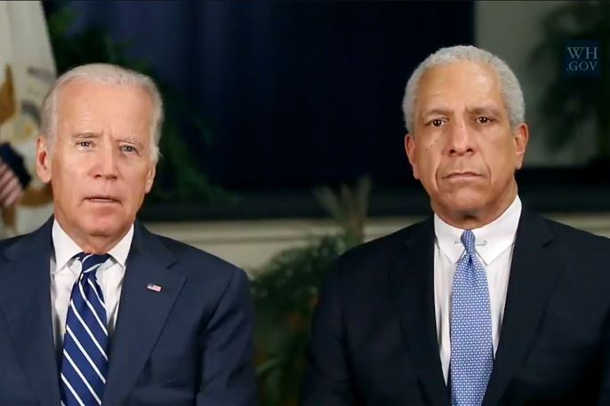 20160730-radioaddressWH-lewisbiden.jpg Screenshot from video of weekly radio address delivered Saturday with Vice President Joe Biden and retired federal Judge Timothy K. Lewis, who served on the Western District of Pennsylvania bench from 1991 to 1992 and on the Court of Appeals for the Third Circuit from 1992 to 1999.