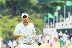 Kevin Kisner of the United States looks on from the putting green Saturday during the third round of the 2016 PGA Championship at Baltusrol Golf Club in Springfield, N.J.
