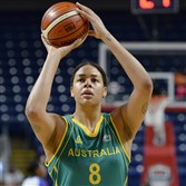 Australia's Elizabeth Cambage warms up before a women's exhibition basketball game against France on Friday in Bridgeport, Conn. She will be back on the court in Rio after a battle with depression kept her away from the game.