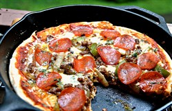 Loaded Campfire Pizza.