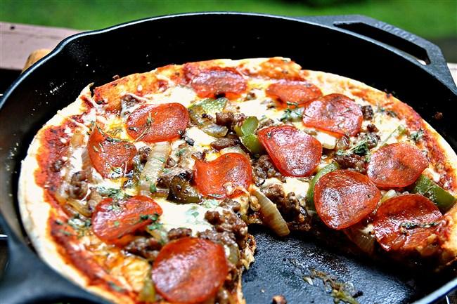 Loaded Campfire Pizza.