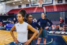 Duquesne basketball players Nina Aho, a freshman from Hungary, Conor Richardson, of Carnegie, and Judith Sole of Spain practice Tuesday at Palumbo Center.