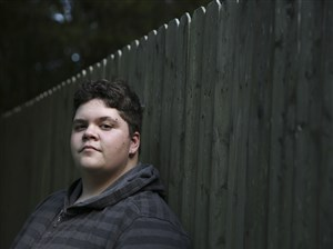 Gavin Grimm, 16, who identifies as male but was born female and sued his school district for the right to use the boys bathroom at his home in Gloucester, Va.