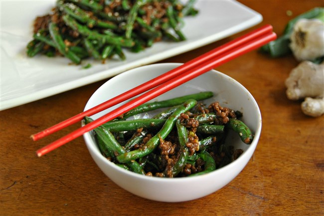 Green Beans with Pork and Garlic Black Bean Sauce puts green beans in a spicy spotlight.