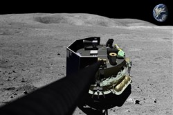 This image provided by Moon Express on Aug. 3, 2015, shows an illustration of the company's landing vehicle on the surface of Earth's moon.