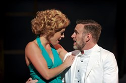 "Erika Henningsen as Nellie and Ben Davis as Emile in Pittsburgh CLO's ""South Pacific,"" at the Benedum Center through Aug. 14."