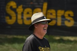 Steelers defensive coordinator Keith Butler looks on during afternoon workouts in August at Saint Vincent College in Latrobe.