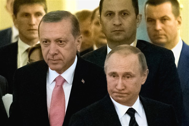 AP_16222674427409-2 Turkish President Recep Tayyip Erdogan, left, and Russian President Vladimir Putin prepare for a meeting Tuesday.
