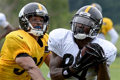 Antonio Brown pulls in a pass against Ross Cockrell during training camp last summer in Latrobe.