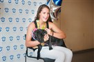 Leah Smith, the Oakland Catholic graduate who won two Olympic medals in Rio, visited the Western Pennsylvania Humane Society Wednesday, where a dog was named after her.