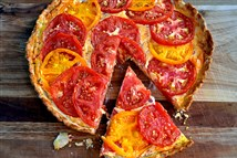 Heirloom Tomato and Pimiento Cheese Pie is a delicious invention from chef Matthew Krenz.