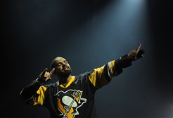 Drake begins his set with a Penguins jersey on during the Summer Sixteen Tour at Consol Energy Center on Wednesday.