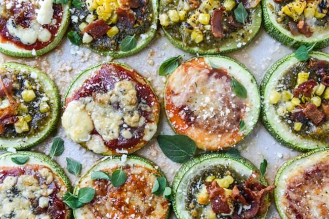 Zucchini Pizzas, 3 ways.