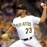 Felipe Rivero pitches against the Reds in the seventh inning Aug. 5 at PNC Park.