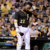 Andrew McCutchen reacts after striking out against the Miami Marlins in the sixth inning Saturday at PNC Park.