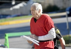 Jerry Sandusky arrives at the Centre County Courthouse on Aug. 22, 2016, in Bellefonte, Pa.