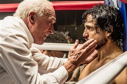 "Robert De Niro and Edgar Ramírez star in ""Hands of Stone."""