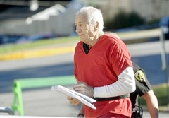 Jerry Sandusky arrives at the Centre County Courthouse, Monday in Bellefonte, Pa.